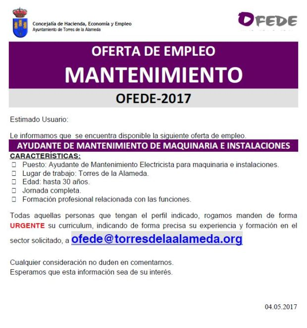 of- mantenimiento electricista 04052017