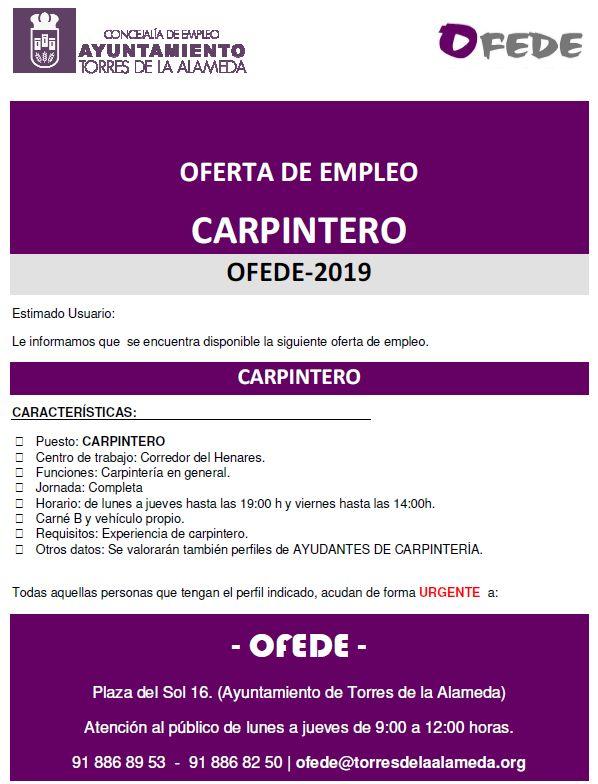 NOTA OFERTA DE EMPLEO CARPINTERO 14022019