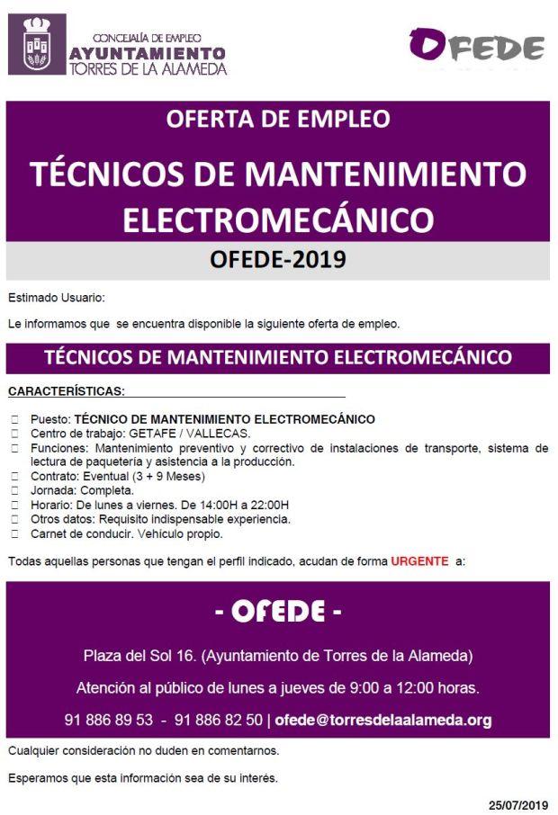 NOTA TÉCNICOS DE MANTENIMIENTO ELECTROMECÁNICO 25072019